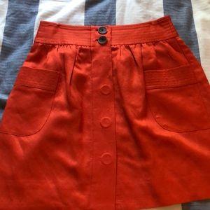 Orange Jcrew size 0 mini skirt with pockets!